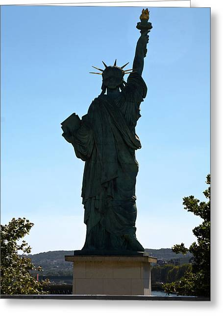 Paris Statue Of Liberty Greeting Card by Sally Weigand