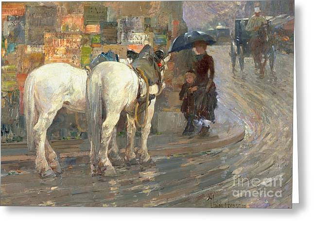 Wet Greeting Cards - Paris Street Scene Greeting Card by Childe Hassam