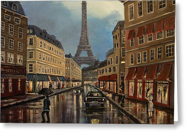 Paris Street Sciene At Night Greeting Card