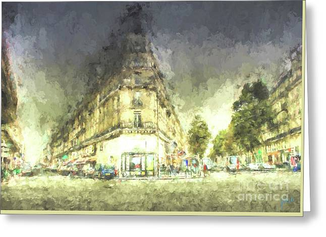 Greeting Card featuring the mixed media Paris Streets by Jim  Hatch