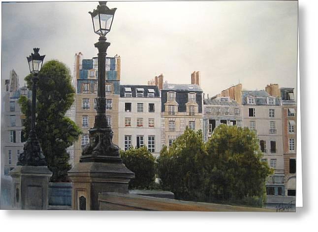 Paris Stroll Greeting Card by Victoria Heryet
