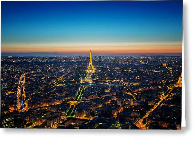 Paris Sunset Greeting Card by Ryan Wyckoff