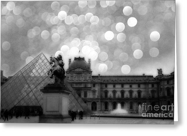 Paris Surreal Louvre Museum Pyramid Black And White Architecture Greeting Card by Kathy Fornal