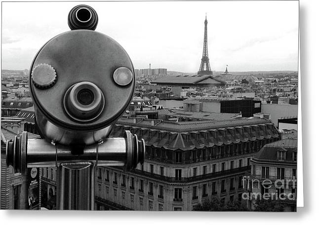 Paris Telescope Skyline Eiffel Tower And Rooftops - Telescope Paris Black And White Photography  Greeting Card