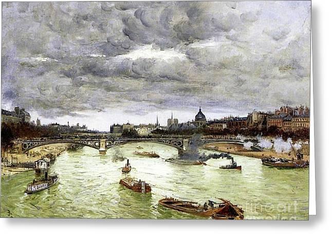 Paris, The Seine And Alexander IIi's Bridge, 1896 Greeting Card