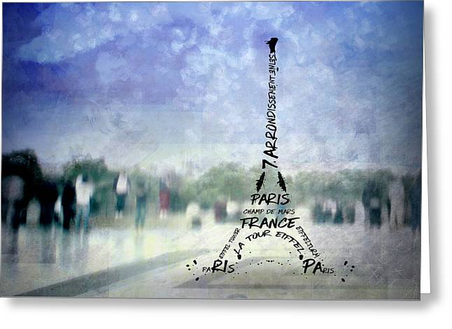 Paris Trocadero And Eiffel Tower Typografie Greeting Card