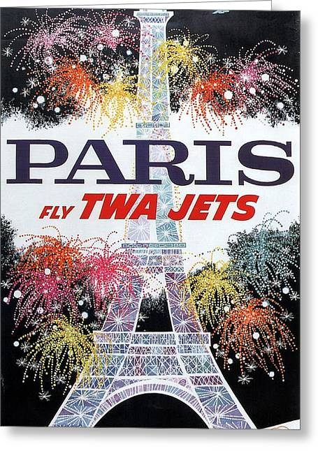 Paris - Twa Jets - Trans World Airlines - Eiffel Tower - Retro Travel Poster - Vintage Poster Greeting Card