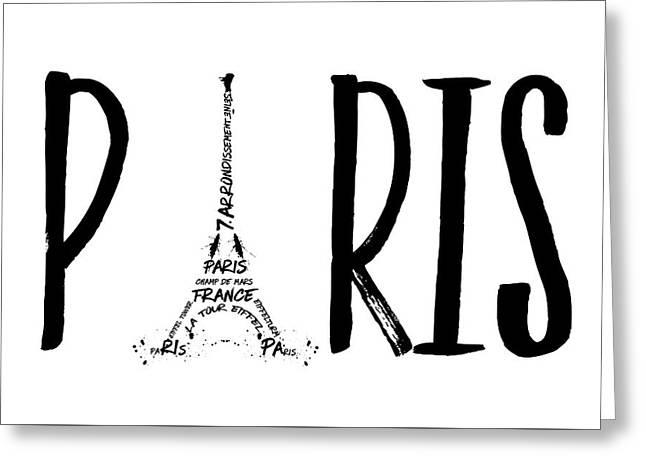 Paris Typography Greeting Card by Melanie Viola