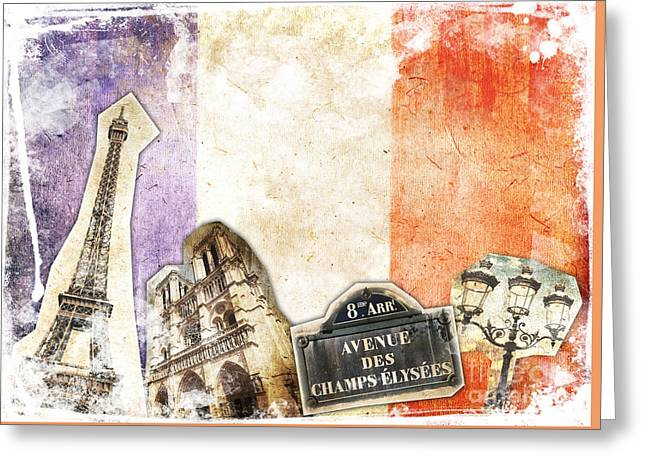 Paris Vintage Collage Greeting Card by Delphimages Photo Creations