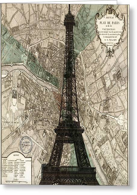 Paris Vintage Map And Eiffel Tower Greeting Card by Georgia Fowler