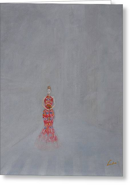 Paris - Woman Holding A Fan In Haze Greeting Card by CH Narrationism