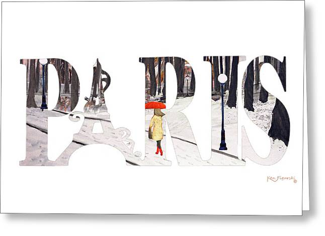 Paris Word Art Greeting Card by Ken Figurski