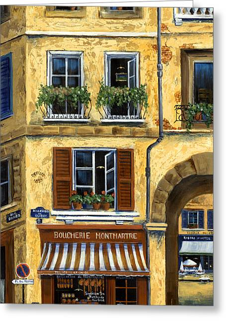 Umbrella Greeting Cards - Parisian Bistro and Butcher Shop Greeting Card by Marilyn Dunlap
