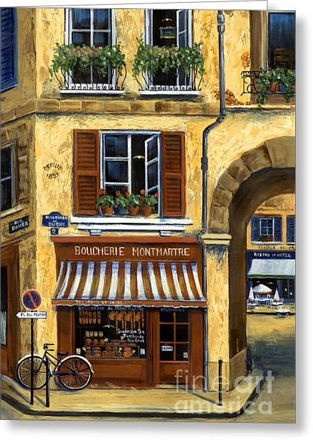 Parisian Bistro And Butcher Shop Greeting Card