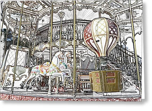 Parisian Carousel Paris France At The Base Of Eiffel Tower Colored Pencil Digital Art Greeting Card