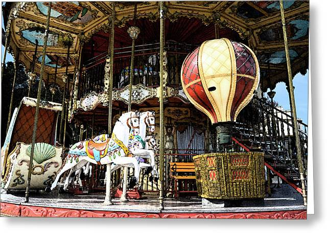 Parisian Carousel Paris France At The Base Of Eiffel Tower Painterly Fresco Digital Art Greeting Card
