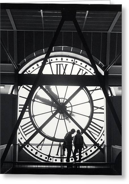 Parisian Clock Greeting Card by Andrea Simon