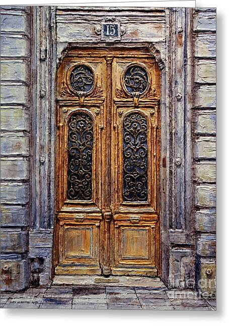 Greeting Card featuring the painting Parisian Door No. 15 by Joey Agbayani