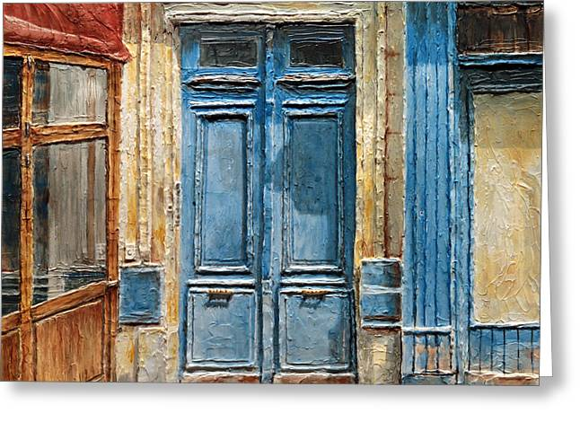 Greeting Card featuring the painting Parisian Door No.36 by Joey Agbayani