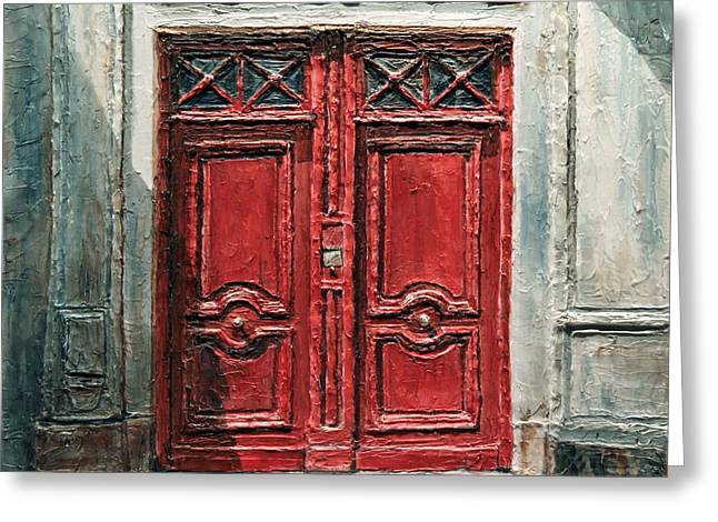 Greeting Card featuring the painting Parisian Door No.9 by Joey Agbayani