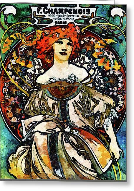 Parisian Lady Van Gogh Style Expressionism Greeting Card by Georgiana Romanovna