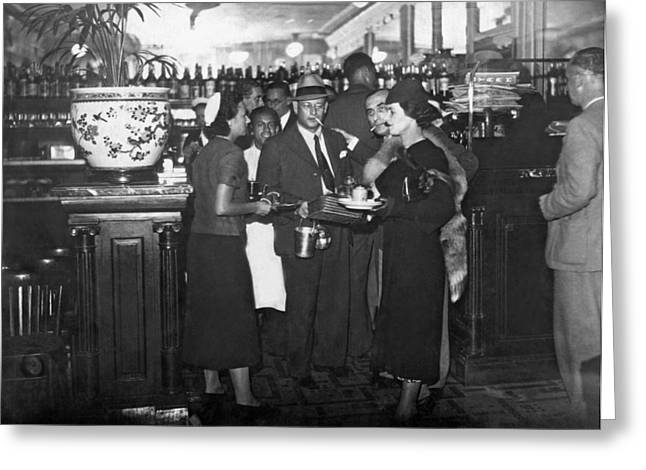 Parisian Waiters Strike Greeting Card by Underwood & Underwood
