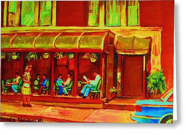 Park Avenue Montreal Cafe Scene Greeting Card by Carole Spandau
