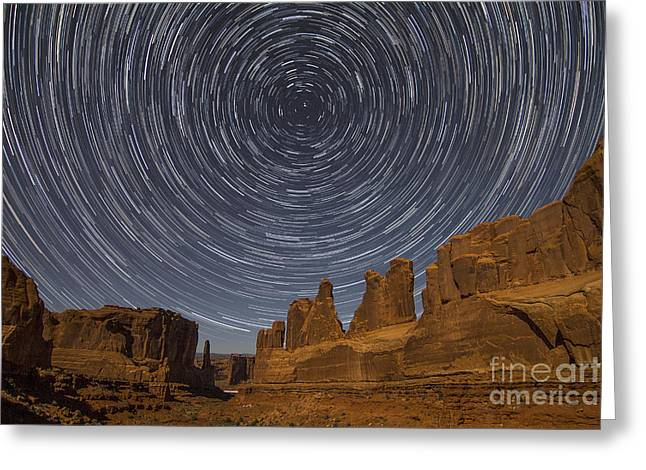 Park Avenue Star Trails Greeting Card by Spencer Baugh