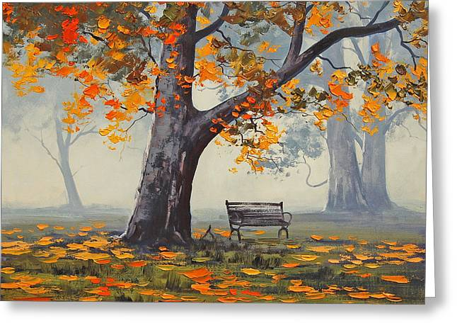 Park Benches Paintings Greeting Cards - Park Bech Greeting Card by Graham Gercken