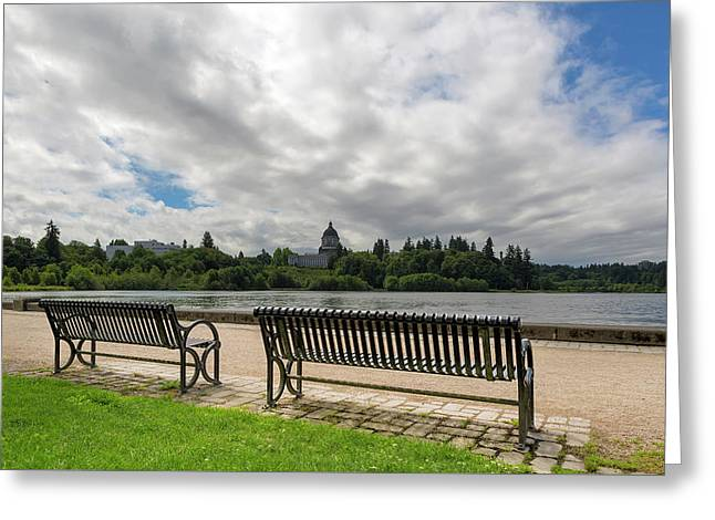 Park Bench Along Capitol Lake In Olympia Washington Greeting Card
