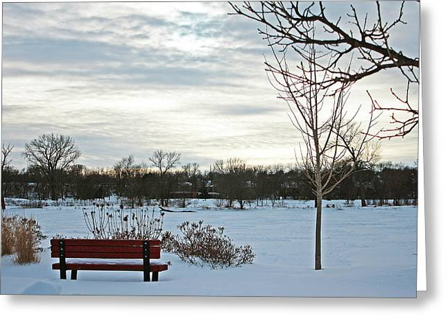 Snowpocalypse Greeting Cards - Park Bench Greeting Card by Angela Siener