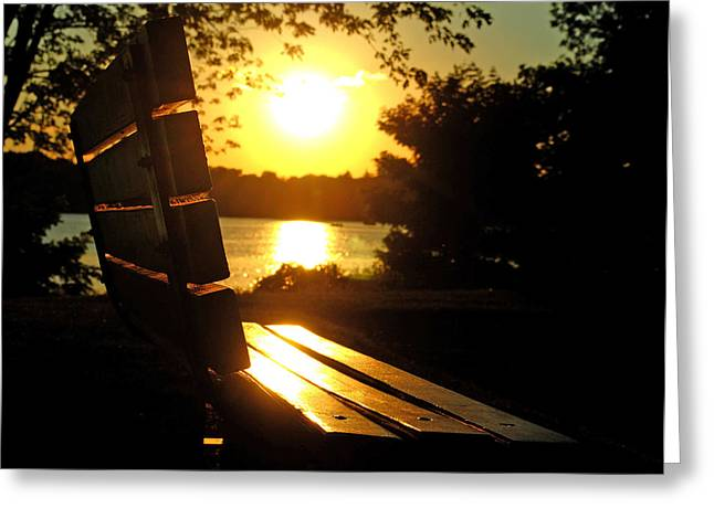 Park Bench At Sunset Greeting Card