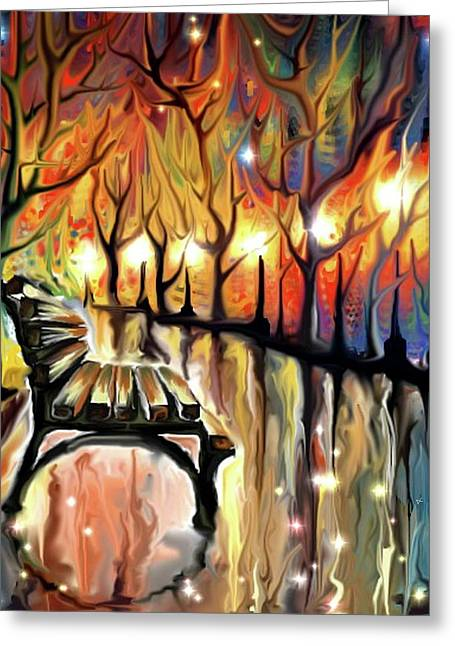 Greeting Card featuring the digital art Park Bench by Darren Cannell