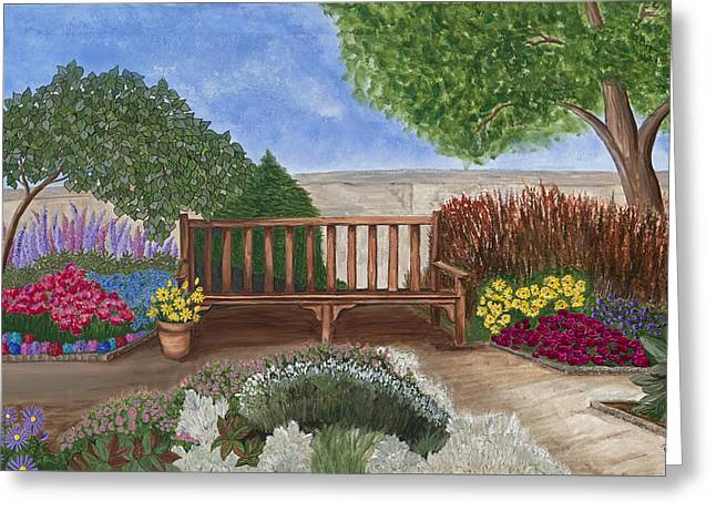 Park Bench In A Garden Greeting Card by Patty Vicknair