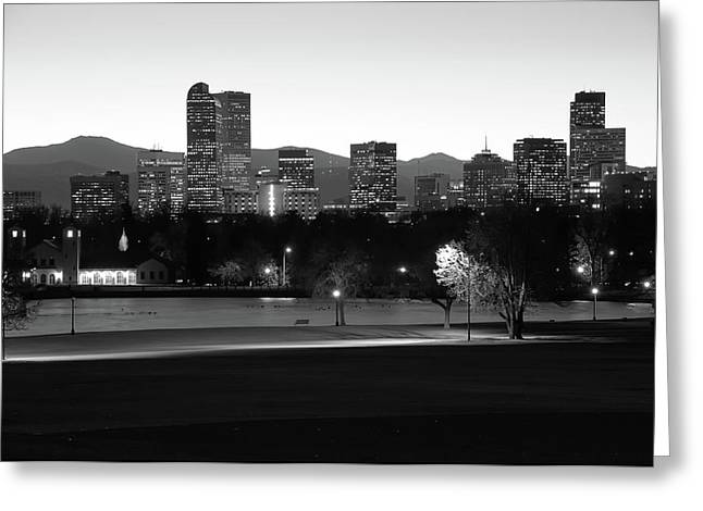 Greeting Card featuring the photograph Park Bench Under The Denver Colorado Skyline - Black And White by Gregory Ballos