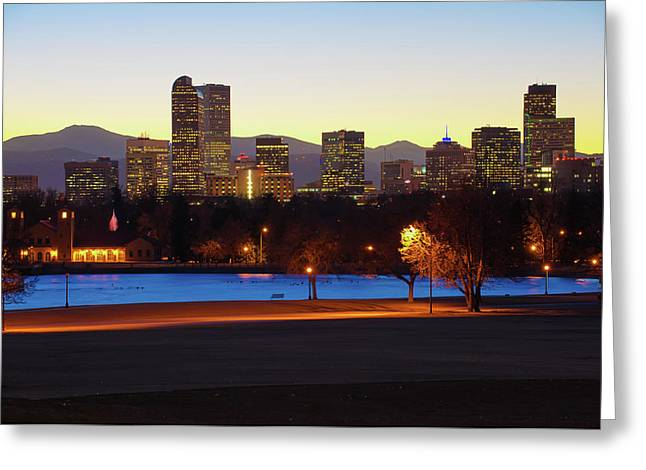 Greeting Card featuring the photograph Park Bench Under The Denver Colorado Skyline by Gregory Ballos