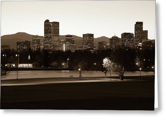Greeting Card featuring the photograph Park Bench Under The Denver Colorado Skyline - Sepia 2 by Gregory Ballos
