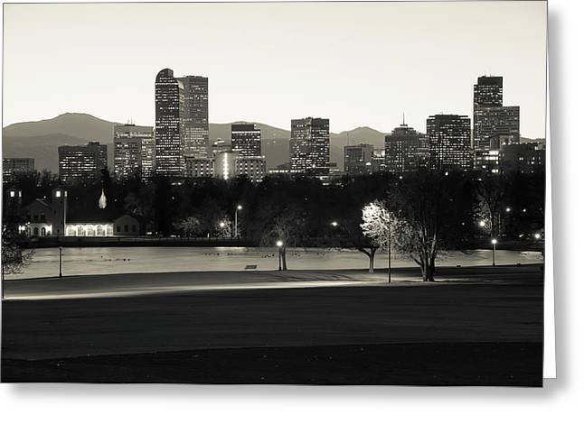 Greeting Card featuring the photograph Park Bench Under The Denver Colorado Skyline - Sepia by Gregory Ballos