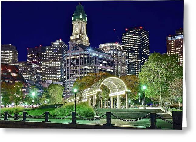 Park Entrance In Boston Greeting Card by Frozen in Time Fine Art Photography