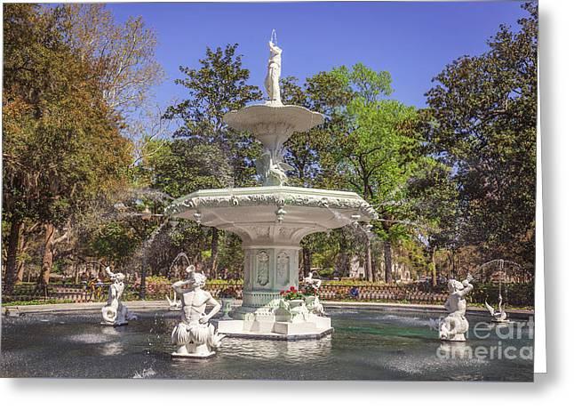 Park Fountain Greeting Card by Joan McCool