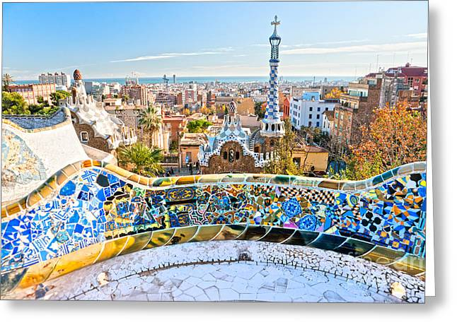 Greeting Card featuring the photograph Park Guell Barcelona by Luciano Mortula
