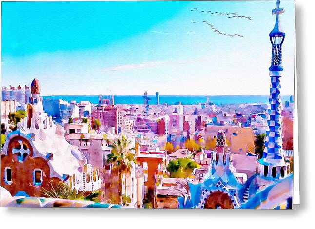Park Guell Watercolor Painting Greeting Card by Marian Voicu