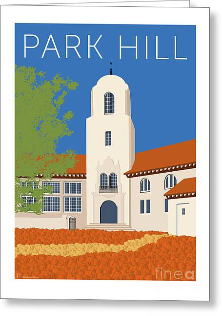 Greeting Card featuring the digital art Park Hill Blue by Sam Brennan