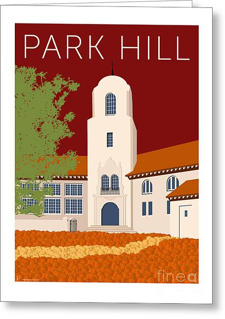 Greeting Card featuring the digital art Park Hill Maroon by Sam Brennan