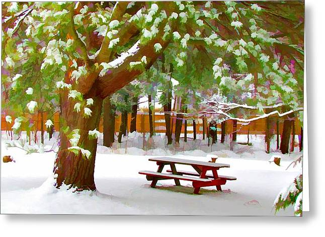 Park In Winter With Snow Greeting Card by Lanjee Chee