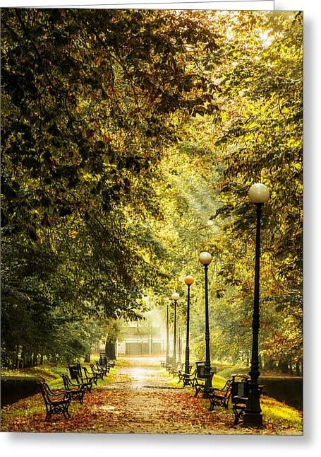 Greeting Card featuring the photograph Park Lane by Jaroslaw Grudzinski