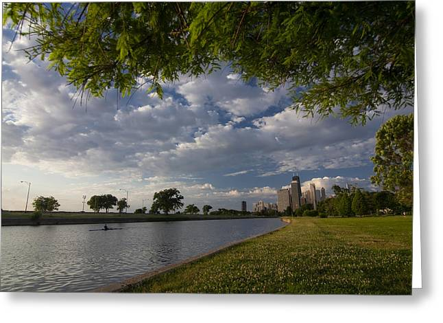 Park Scene With Rower And Skyline Greeting Card by Sven Brogren