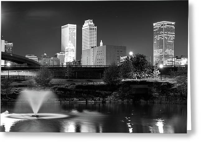 Park View Of The Tulsa Skyline Black And White - Oklahoma Usa Greeting Card by Gregory Ballos