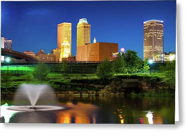 Park View Of The Tulsa Skyline - Oklahoma Usa Greeting Card