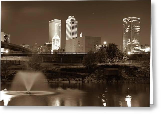 Park View Of The Tulsa Skyline Sepia - Oklahoma Usa Greeting Card by Gregory Ballos